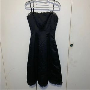 Bcbg Black Satin Cocktail Dress Size 0